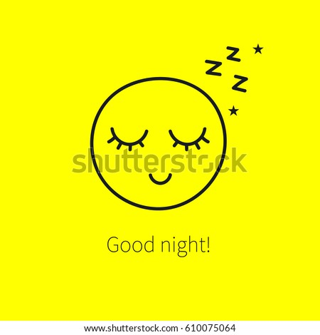 Cute happy sleeping smiley with closed eyes and long eyelashes. Icon good night, restful sleep with sound of z, isolated on yellow background. Vector illustration.