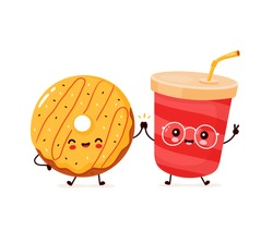 Cute happy smiling donut and soda water. Vector flat cartoon character illustration icon design.Isolated on white background. Donut,soda,fast food menu concept