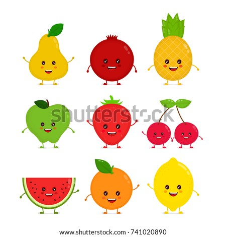 Cute happy smiling funny raw fruit collection set. Vector flat style cartoon character illustration. Isolated on white background. Fruits concept, apple, pineapple, strawberry, pear, cherry, watermelon, lemon