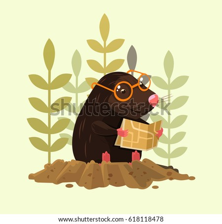 Shutterstock Cute happy smiling mole character sitting and read map. Vector flat cartoon illustration