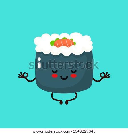 cute happy smiling sushi roll