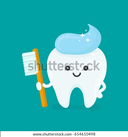 Cute happy smiling tooth with toothbrush and toothpaste hairstyle.Vector modern flat style cartoon character illustration.Isolated blue background.Clear tooth concept.Brushing teeth.Dental kids care
