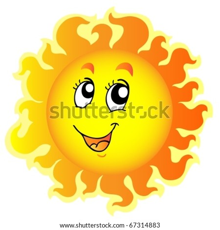 Cute happy Sun - vector illustration.