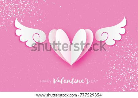 Cute Happy Valentineu0027s Day Greetings Card. White Origami Angel Wings And  Romantic Heart. Love