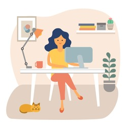 Cute happy woman sitting at desk and working on computer at home. Female freelancer working at workplace vector illustration. Remote work. Work from home design.