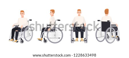 Cute happy young man in wheelchair isolated on white background. Smiling male character with physical disability or impairment. Front, side, back views. Vector illustration in flat cartoon style. ストックフォト ©