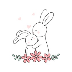 Cute hare and bunny. Mama rabbit and baby rabbit. Love mom. Mother's Day greeting card. Vector illustration. Isolated on white. Good for t shirts, postcards.