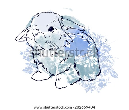 cute hare, rabbit sketch vector illustration watercolor flower