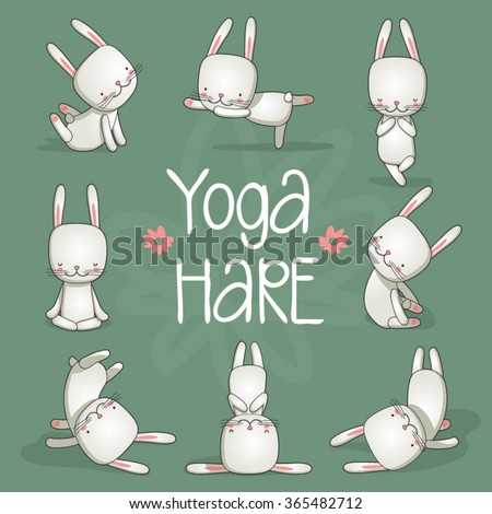 cute hare yoga vector