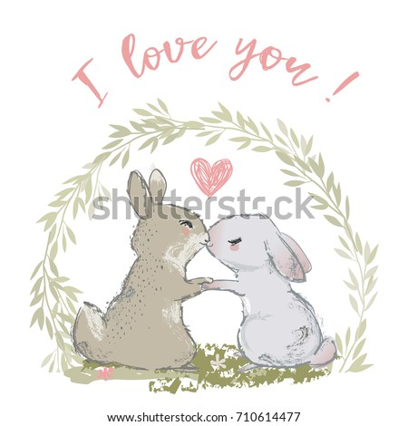 cute hares couple kissing