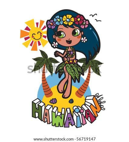 Cute Hawaiian girl happy dancing on the beach with flower garland on her hair
