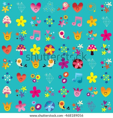 cute hearts birds flowers