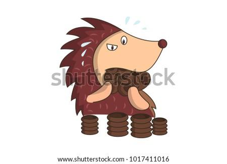 cute hedgehog character eating