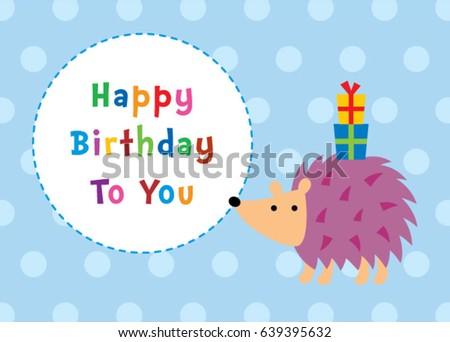 Cute Hedgehog Happy Birthday Greeting Card Vector Ez Canvas