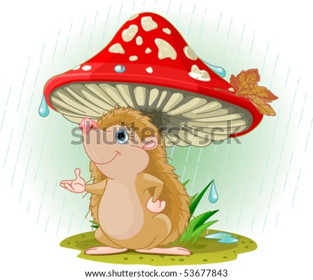 Cute Hedgehog wearing rain gear under mushroom