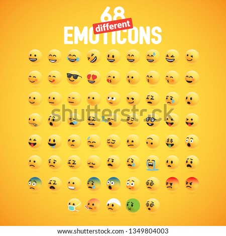 Cute high-detailed yellow 3D emoticon set for web, vector illustration