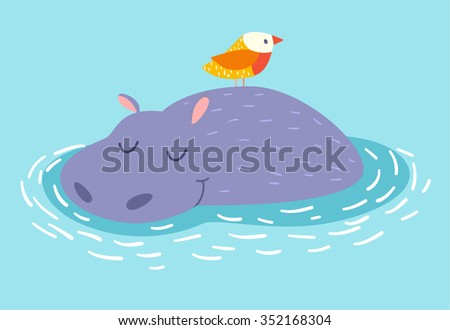 Cute hippo and bird on the water background. Vector illustration
