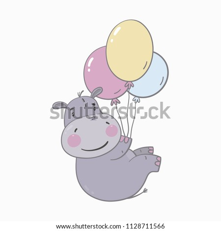 Cute  hippo baby. Baby Shower cards. Print for Children bedroom