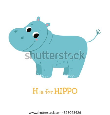 Cute hippo baby. Cartoon vector hand drawn eps 10 illustration isolated on white background.