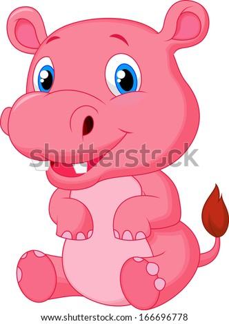 Cute hippo cartoon #166696778