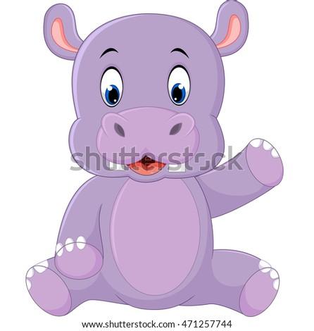 Cute hippo cartoon #471257744