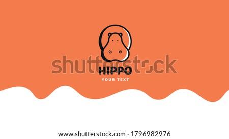 Cute hippo.  Hippopotamus logo. Flat style. Minimalist logo. Stock vector illustration Photo stock ©