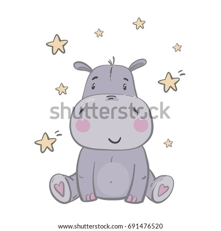 Cute Hippo. Illustrations for children. Baby Shower card
