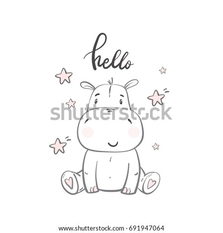 cute hippo illustrations for