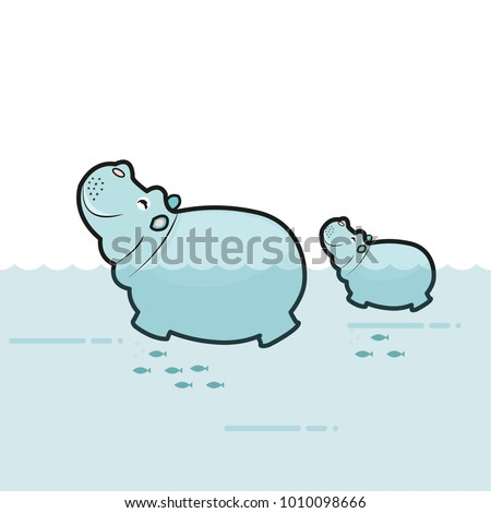 Cute hippo mom and baby on the water background. Vector illustration
