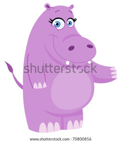 Cute hippo presenting with her hand