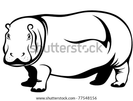 cute hippo vector illustration
