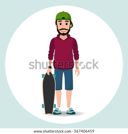 cute hipster boy character