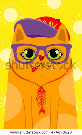 cute hipster cat  vector