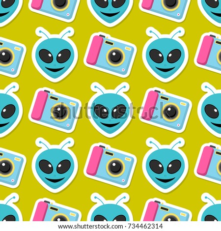 Cute hipster stickers scrapbook drawing vector illustration fashion patch pop art seamless pattern background.