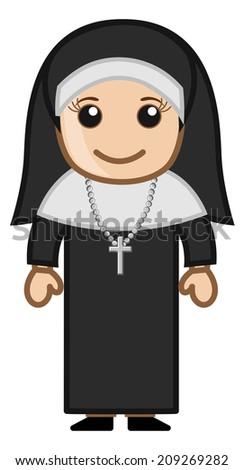 Cute Holy Nun - Vector