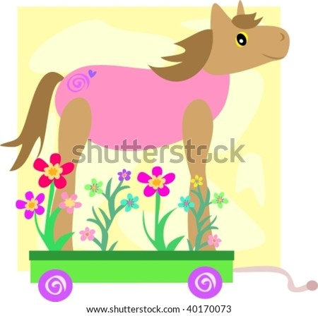Cute Horse on a Flower Cart Vector