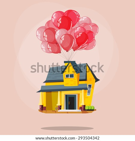 cute house and car with
