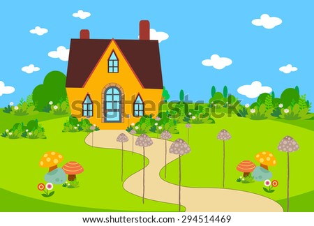 cute house background with mushroom #294514469