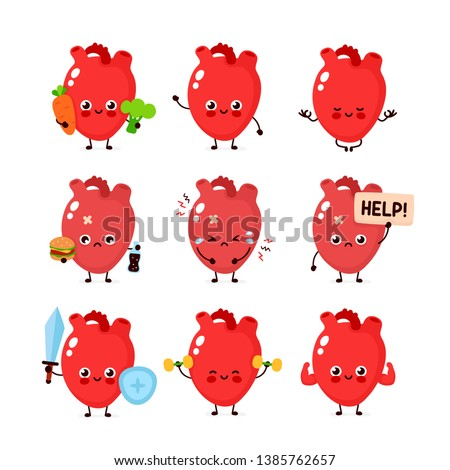 Cute human heart organ set. Healthy and unhealthy human organ. Vector modern style cartoon character illustration icon design. Bad habits,nutrition,heart protection concept