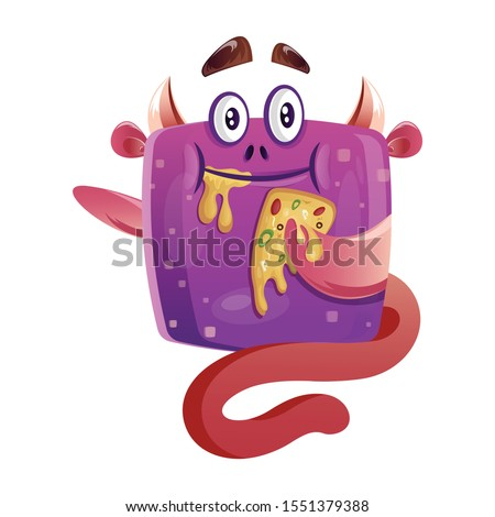 cute hungry boxy purple monster