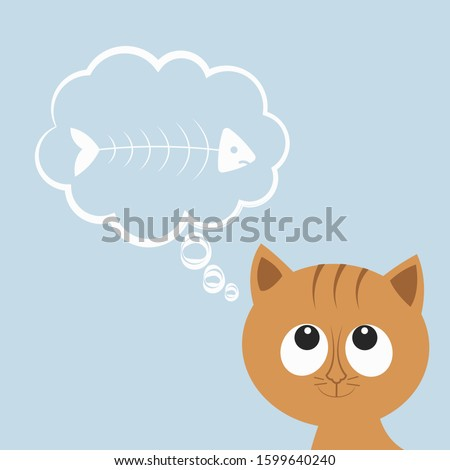 Cute hungry cat or kitten thinks about fish. Cartoon character, animal collection. Thoughts bubble. Vector illustration