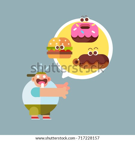Shutterstock Cute hungry fat boy with fast food. Cartoon style character, flat vector illustration.