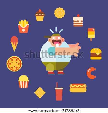 Cute hungry fat boy with fast food. Food icon set. Cartoon style character, flat vector illustration.