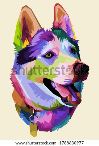 cute husky dog on pop art style