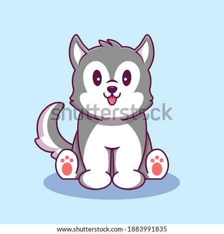 cute husky dog sitting cartoon