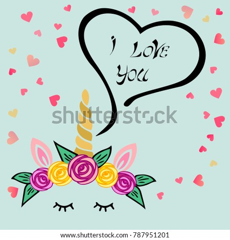 Cute I love You card with Unicorn tiara and horn on blue background with hearts. Template for St. Valentine's Day/invitation/party/Mother day/birthday/baby birth/greetings card. Vector illustration