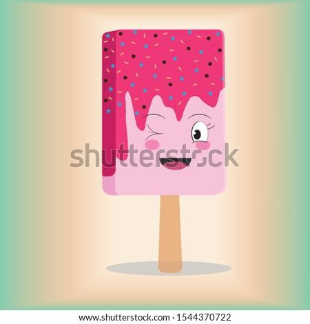 cute ice cream strawberry stick
