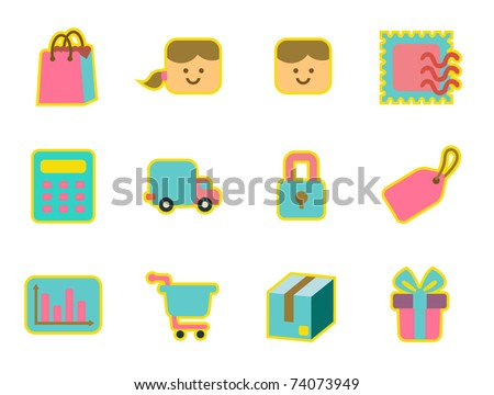 cute icon set - shopping - stock vector