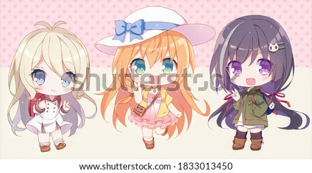 Cute illustration. Beautiful chibi character girl. Kawaii Anime manga teenager. Big eyes. Use for postcards, print on clothes or other things. Banner decorations.