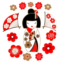 Cute illustration of a Japanese doll - kokeshi, clad in a white kimono, sakura flowers and fans.